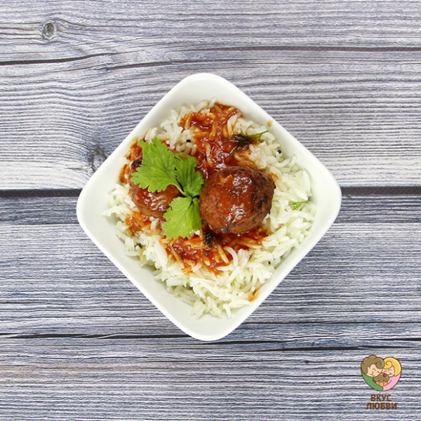 Рис с чечевичными шариками (Vegan)